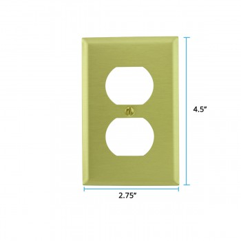 spec-<PRE>Brushed Brass Switchplates Double Outlet Set of 4 </PRE>