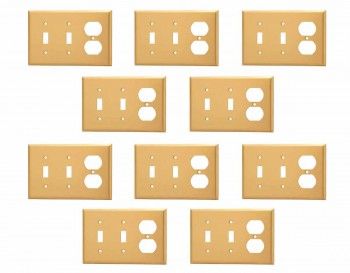 <PRE>10 Switch Plate Brushed Brass Double Toggle/Outlet </PRE>zoom1