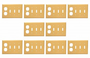 <PRE>10 Switch Plate Brushed Brass Triple Toggle Outlet </PRE>zoom1