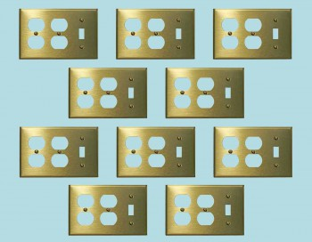<PRE>10 Switchplate Brushed Solid Brass Toggle Double Outlet </PRE>zoom2