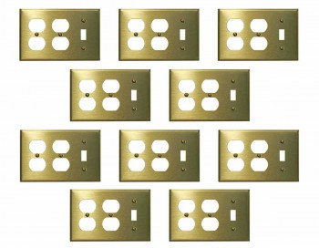 <PRE>10 Switchplate Brushed Solid Brass Toggle Double Outlet </PRE>zoom1