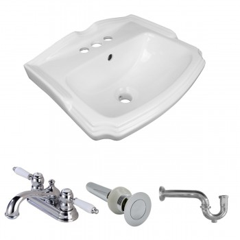 Renovator's Supply White Small Wall Mount Sink with Faucet, Drain and P-Trap57332grid