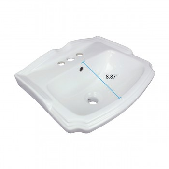spec-<PRE> White Small Wall Mount Sink with Faucet, Drain and P-Trap</PRE>