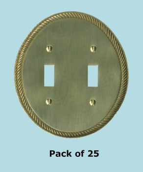 <PRE>25 Solid Brass Switchplate Double Toggle Oval Braided </PRE>zoom2