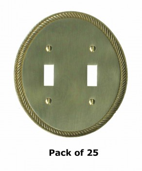 <PRE>25 Solid Brass Switchplate Double Toggle Oval Braided </PRE>zoom1