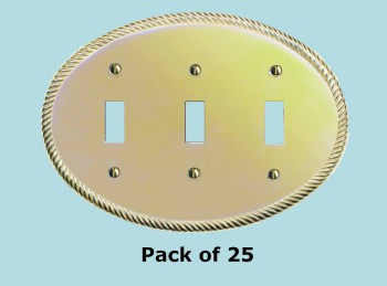 25 Solid Brass Triple Toggle Switchplate Oval Braided Switch Plate Wall Plates Switch Plates