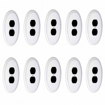 10 White Solid Brass Oval Braided, Single Outlet wall plate