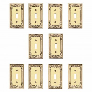 10 Victorian Bright Solid Brass Victorian Single Toggle switch plate