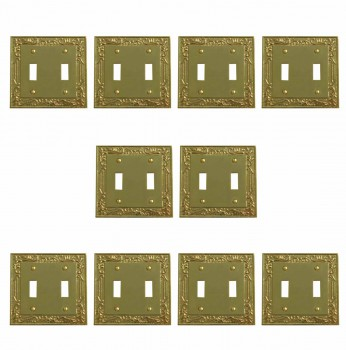 10 Victorian Switch Plate Double Toggle PVD Solid Brass Switch Plate Wall Plates Switch Plates