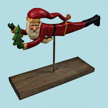 Santa Centerpiece Red ResinPine 8H x 11.5W Santa Centerpiece Santa Figurines Santa Collectibles