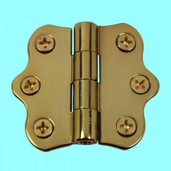 Door Hinges - Ripple Brass Hinge NO Finials 1 7/16 in. H X 2 in. W by the Renovator's Supply