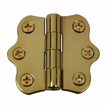 Cabinet Hinge Polished Brass No Finials 1 7/16