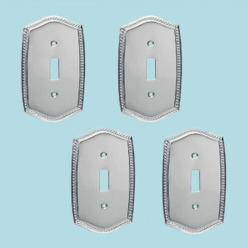 <PRE>4 Switchplate Roped Chrome Single Toggle/Dimmer  </PRE>zoom2