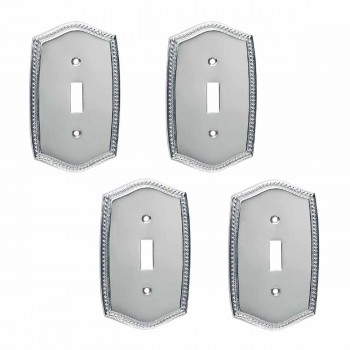 4 Switchplate Roped Chrome Single ToggleDimmer Switch Plate Wall Plates Switch Plates