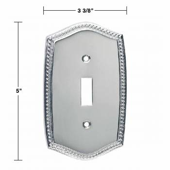 spec-<PRE>4 Switchplate Roped Chrome Single Toggle/Dimmer  </PRE>