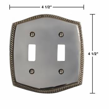 "spec-<PRE>25 Switchplate Chrome 5 1/4"" H Braided Double Toggle </PRE>"