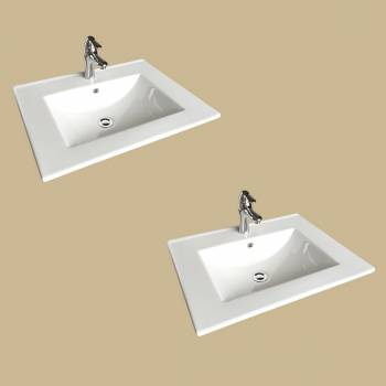 spec-<PRE>Square White Bathroom Sink with Faucet and Drain, Drop In, Self Rimming Set of 2</PRE>
