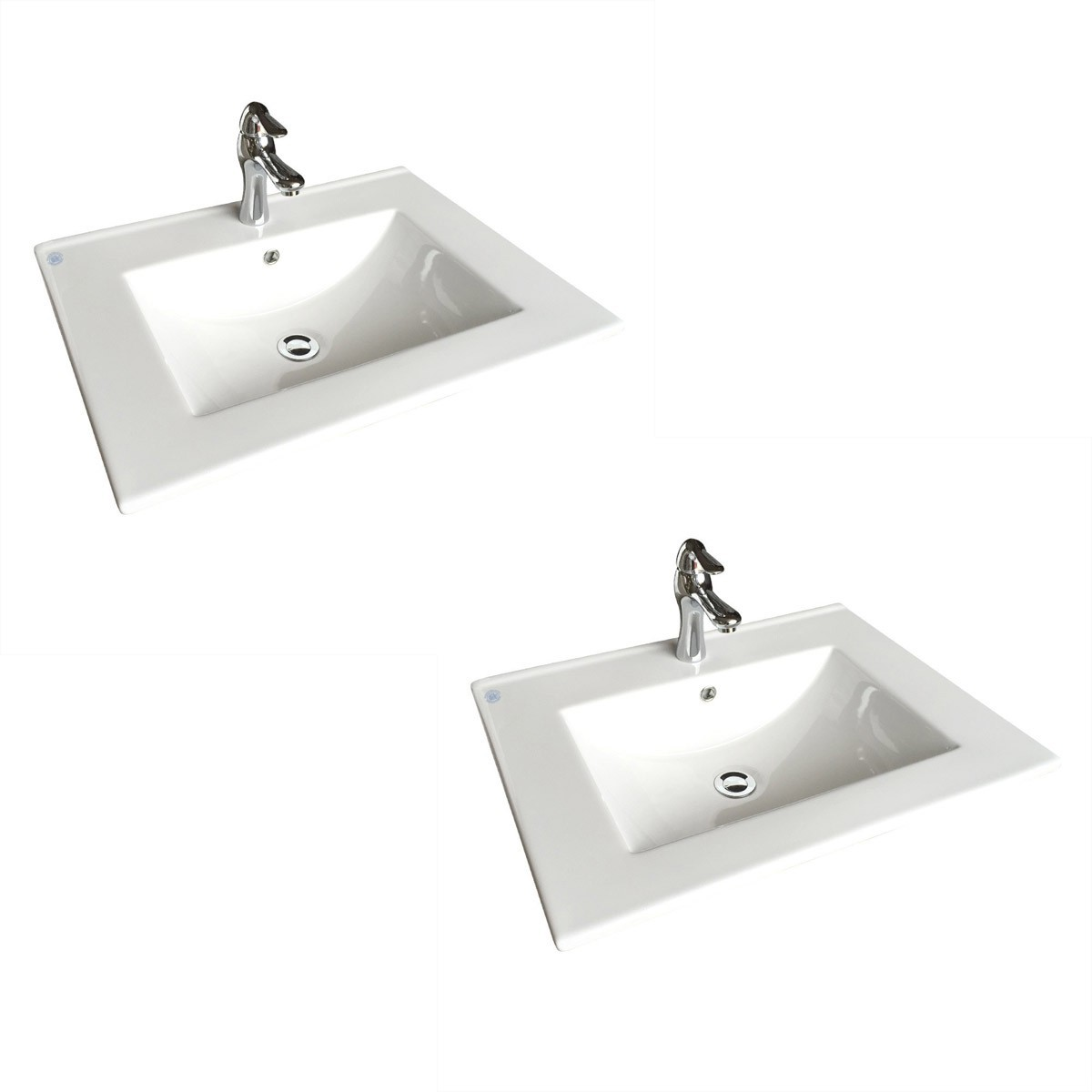 Square White Bathroom Sink with Faucet and Drain, Drop In, Self ...