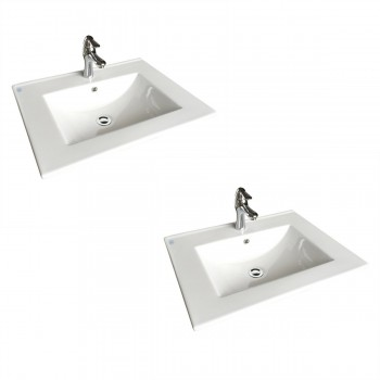 White Sink with Faucet and Drain, Drop In, Self Rimming Set of 2