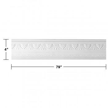 "spec-<PRE>Renovator's Supply Cornice White Urethane Pearl Ornate Design 6 Pieces Totaling 474"" Length</PRE>"