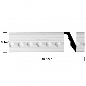 "spec-<PRE> Ornate Cornice White Urethane Golfini Design 6 Pieces Totaling 567"" Length</PRE>"