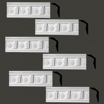 Renovators Supply Cornice White Urethane Tyrese Ornate Design 6 Pieces Totaling 448.5 Length White PrePrimed Urethane Crown Cornice Molding Cornice Crown Home Depot Ekena Millwork Molding Wall Ceiling Corner Cornice Crown Cove Molding
