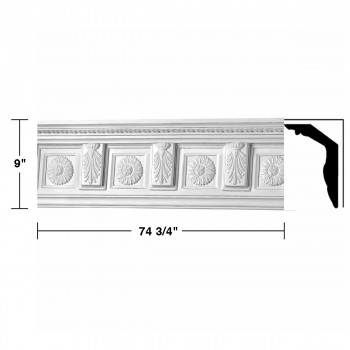"spec-<PRE> Cornice White Urethane Tyrese Ornate Design 6 Pieces Totaling 448.5"" Length</PRE>"