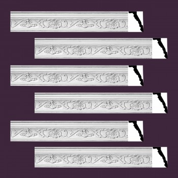 <PRE>Renovator's Supply Ornate Cornice White Urethane Vineyard Design 6 Pieces Totaling 470.25inch Length</PRE>zoom2