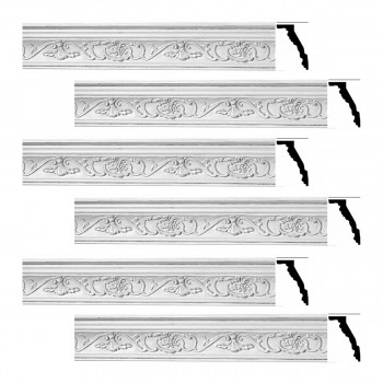 <PRE>Renovator's Supply Ornate Cornice White Urethane Vineyard Design 6 Pieces Totaling 470.25inch Length</PRE>zoom1