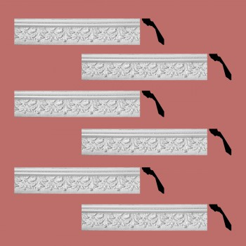 Renovators Supply Cornice White Urethane Leaf Ornate Design 6 Pieces Totaling 444 Length White PrePrimed Urethane Crown Cornice Molding Cornice Crown Home Depot Ekena Millwork Molding Wall Ceiling Corner Cornice Crown Cove Molding
