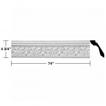"spec-<PRE> Cornice White Urethane Leaf Ornate Design 6 Pieces Totaling 444"" Length</PRE>"