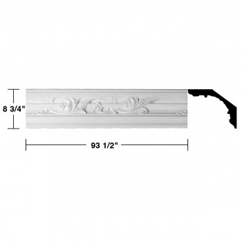 "spec-<PRE>Renovator's Supply Cornice White Urethane Julia Ornate Design 6 Pieces Totaling 561"" Length</PRE>"