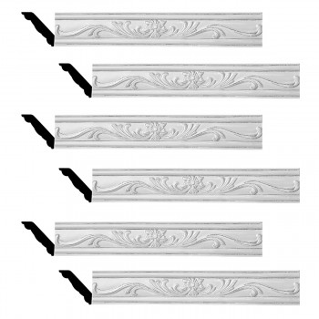 <PRE>Renovator's Supply Ornate Cornice White Urethane Ava Design 6 Pieces Totaling 475.5inch Length</PRE>zoom1