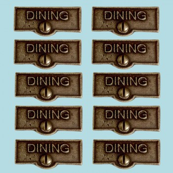 <PRE>10 Switch Plate Tags DINING Name Signs Labels Cast Brass </PRE>zoom2
