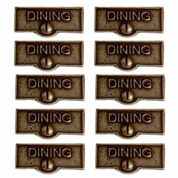 <PRE>10 Switch Plate Tags DINING Name Signs Labels Cast Brass </PRE>zoom1