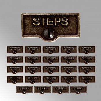 <PRE>25 Switch Plate Tags STEPS Name Signs Labels Cast Brass </PRE>zoom2