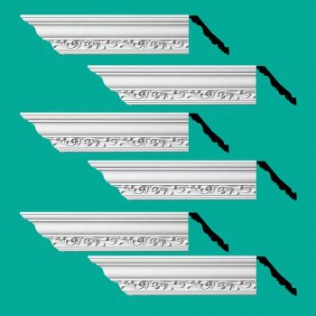<PRE>Renovator's Supply Ornate Cornice White Urethane Zoe Design 6 Pieces Totaling 564inch Length</PRE>zoom2