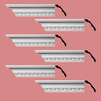 <PRE>Renovator's Supply Cornice White Urethane Capucina Ornate Design 6 Pieces Totaling 570inch Length</PRE>zoom2