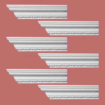 Renovators Supply Ornate Cornice White Urethane Geneve Design 6 Pieces Totaling 564 Length White PrePrimed Urethane Crown Cornice Molding Cornice Crown Home Depot Ekena Millwork Molding Wall Ceiling Corner Cornice Crown Cove Molding