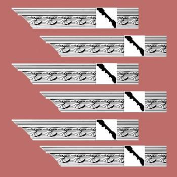 Renovators Supply Ornate Cornice White Urethane Carlotta Design 6 Pieces Totaling 564 Length White PrePrimed Urethane Crown Cornice Molding Cornice Crown Home Depot Ekena Millwork Molding Wall Ceiling Corner Cornice Crown Cove Molding