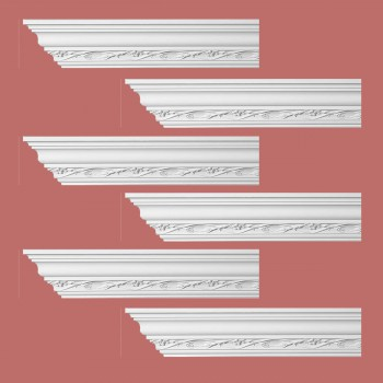 Renovators Supply Ornate Cornice White Urethane Elisabetta Design 6 Pieces Totaling 576 Length White PrePrimed Urethane Crown Cornice Molding Cornice Crown Home Depot Ekena Millwork Molding Wall Ceiling Corner Cornice Crown Cove Molding