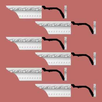"spec-<PRE>Renovator's Supply Ornate Cornice White Urethane Giovane Design 6 Pieces Totaling 576"" Length</PRE>"