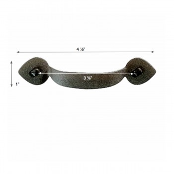 "spec-<PRE>Drawer Pulls Heart Wrought Iron Rustproof Finish 3 1/2"" Boring</PRE>"