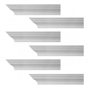 Renovators Supply Cornice White Urethane Lourdes Ornate Design 6 Pieces Totaling 564 Length White PrePrimed Urethane Crown Cornice Molding Cornice Crown Home Depot Ekena Millwork Molding Wall Ceiling Corner Cornice Crown Cove Molding