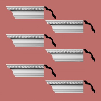 Renovators Supply Cornice White Urethane Bishops Waltham Ornate  6 Pieces Totaling 564 Length White PrePrimed Urethane Crown Cornice Molding Cornice Crown Home Depot Ekena Millwork Molding Wall Ceiling Corner Cornice Crown Cove Molding