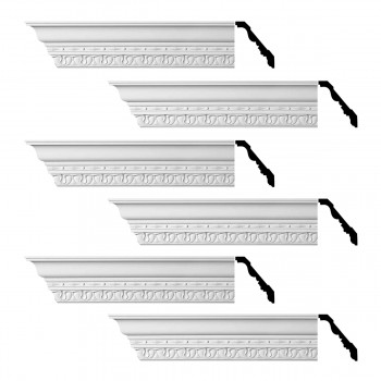 Renovators Supply Cornice White Urethane Kingsbridge Ornate Design 6 Pieces Totaling 576 Length White PrePrimed Urethane Crown Cornice Molding Cornice Crown Home Depot Ekena Millwork Molding Wall Ceiling Corner Cornice Crown Cove Molding