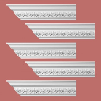 Renovators Supply Ornate Cornice White Urethane Chaville Design 5 Pieces Totaling 480 Length White PrePrimed Urethane Crown Cornice Molding Cornice Crown Home Depot Ekena Millwork Molding Wall Ceiling Corner Cornice Crown Cove Molding
