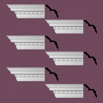 Renovators Supply Ornate Cornice White Urethane Saint Denis Design 6 Pieces Totaling 564 Length White PrePrimed Urethane Crown Cornice Molding Cornice Crown Home Depot Ekena Millwork Molding Wall Ceiling Corner Cornice Crown Cove Molding