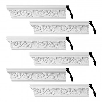 Renovators Supply Ornate Cornice White Urethane Sainte Anne Design 6 Pieces Totaling 576 Length White PrePrimed Urethane Crown Cornice Molding Cornice Crown Home Depot Ekena Millwork Molding Wall Ceiling Corner Cornice Crown Cove Molding