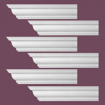 Renovators Supply Ornate Cornice White Urethane Corinth Design 6 Pieces Totaling 564 Length White PrePrimed Urethane Crown Cornice Molding Cornice Crown Home Depot Ekena Millwork Molding Wall Ceiling Corner Cornice Crown Cove Molding